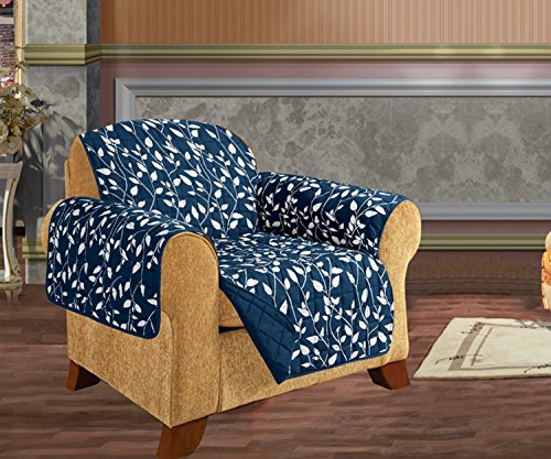 - Elegant Comfort Quilted Leaf Design Reversible Furniture Protector for Pet Dog Children Kids with Ties to Prevent Slipping Off Navy Blue Chair