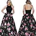 Kimloog Women's Sleeveless Backless Halter Bridesmaid Gown Floral Print Patchwork Maxi Dress