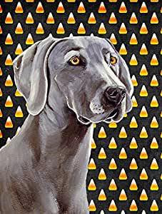 Caroline's Treasures LH9082GF Weimaraner Candy Corn Halloween Portrait Flag, Small, Multicolor