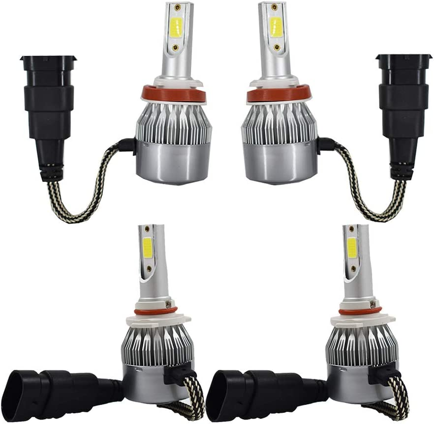 H11 9005 Total 2120W 318000LM LED Headlight High Low Beam Combo Kit 6000K White