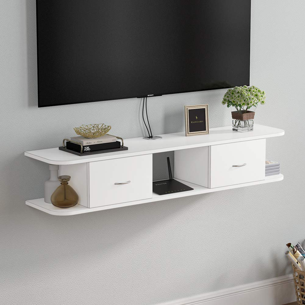 Tribesigns Floating TV Shelf, White Wall Mounted Media TV Stand Console with Drawers, Floating TV Component Shelf Desk Storage Hutch for Cable Boxes/Router/DVD Player (White) by Tribesigns