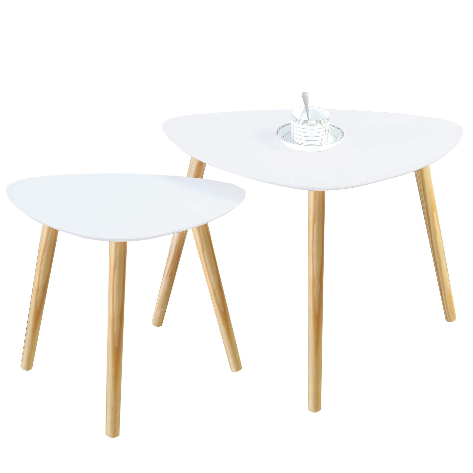 Homury Wood Nesting Coffee End Tables Set of 2 Side Table for Home and Office,White (Triangle)
