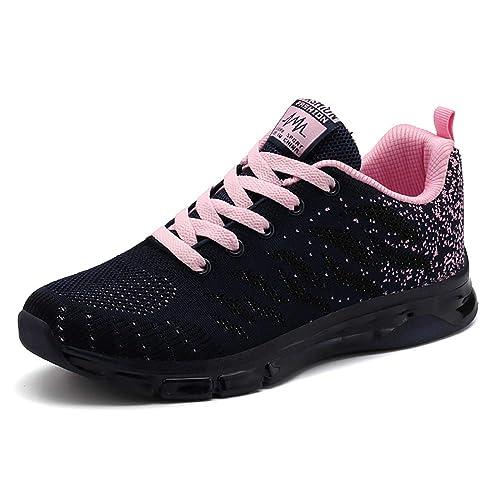 Zapatos para Correr Mujer Zapatillas de Deportivo Tejer Sneakers de Caminar Jogging Low Top Calzado Knit Transpirables Fitness Comodos Azul Gris Rosa ...