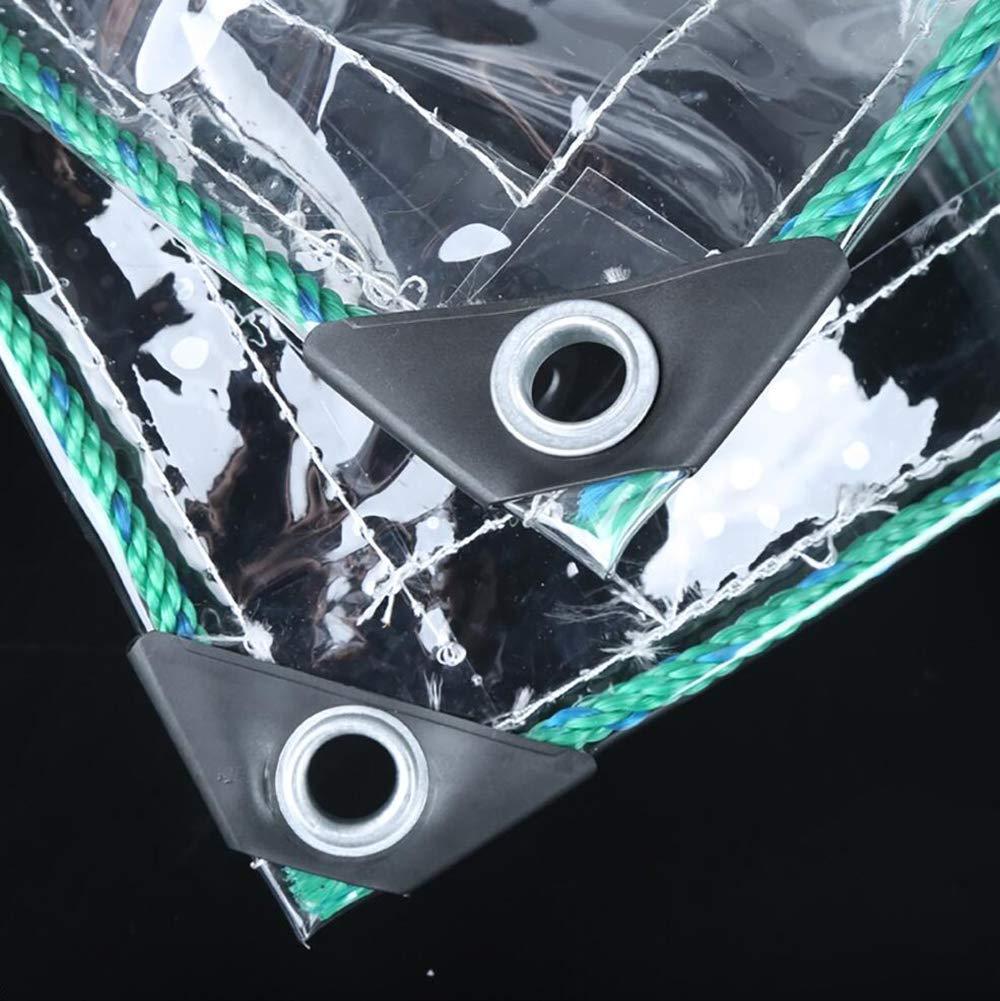 HRFHLHY Transparentes Regenschutztuch, verdickter Rand perforiert transparentes Regenschutz-wasserdichtes Kunststofftuch, Fenster-Balkon-Blaumenschutzabdeckung, im Winter warm,1.8x2.5m