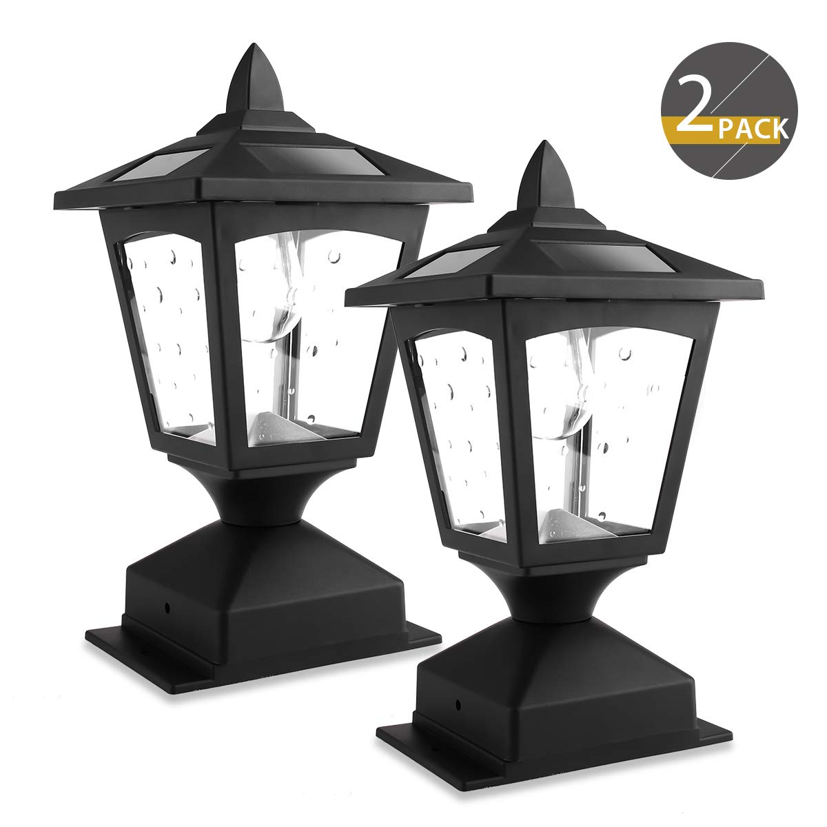 Solar Post Lights Outdoor, Solar Lamp Post Cap Lights for Wood Fence Posts Pathway, Deck, Pack of 2 by Greluna