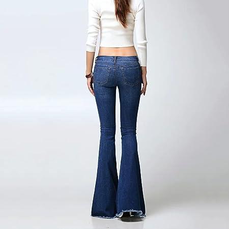 Brilliant firm Europa y Estados Unidos Pantalones Vaqueros Lavados Pantalones a la Moda alejados Botines Grandes (Color : Blue-A, Size : XXS-25): Amazon.es: ...