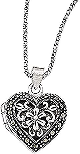 Sterling Silver and Marcasite X Pendant on 18 Inch Box Chain