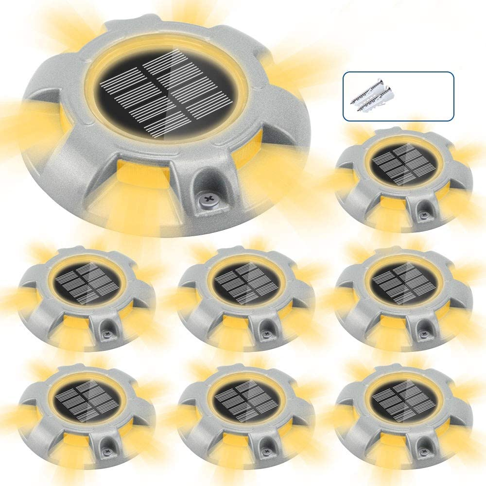 CHINLY Solar Driveway Lights LED Deck Dock Light Step Lighting Waterproof for Outdoor Pathway Garden Ground Yard Walkway Stair Markers 8pcs Warm White