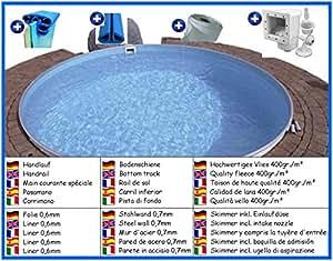 Acero Pared Bajo Set de platillos redondo 4,20m x 1,50m pantalla 0,6mm pool Piscina redondo Platillos redondo Pool