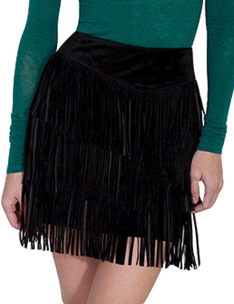 Scully Women's Suede Fringe Skirt - L704-Black