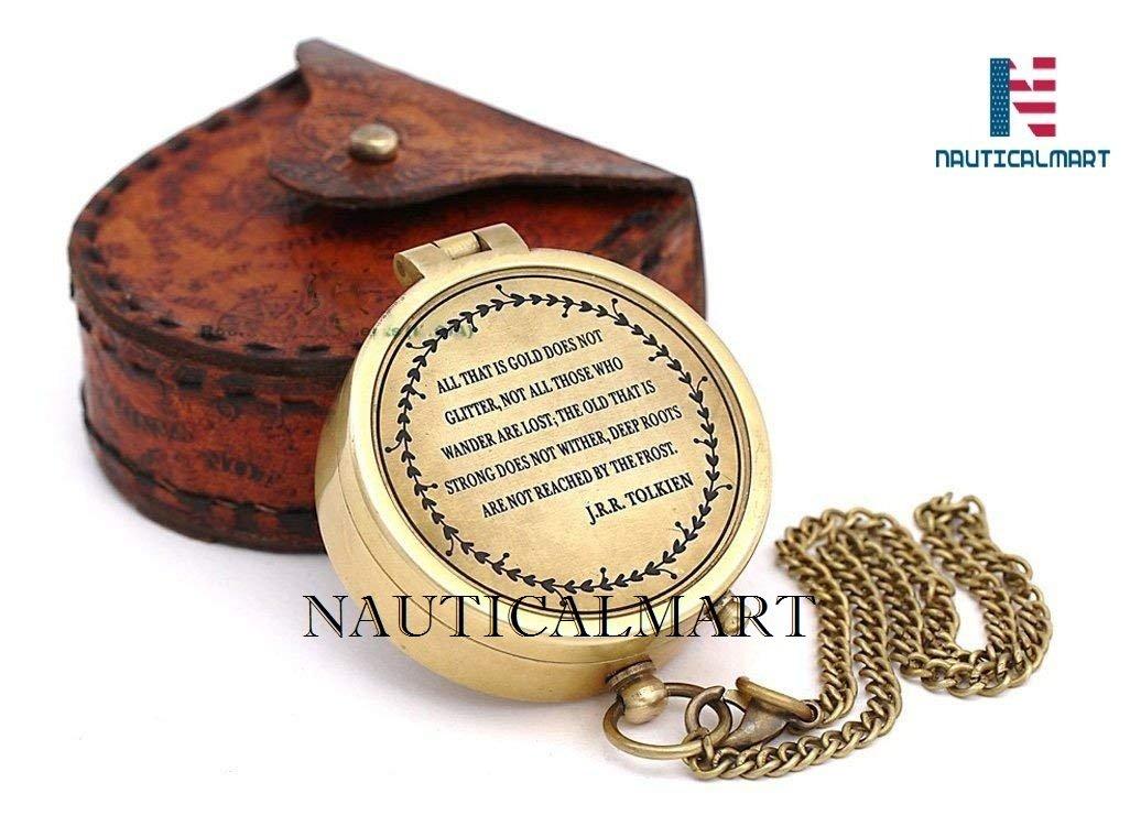 NAUTICALMART Messing 5,1 cm Kompass mit Leder Fall – Alle, Dass ID Gold Nicht Glitter.