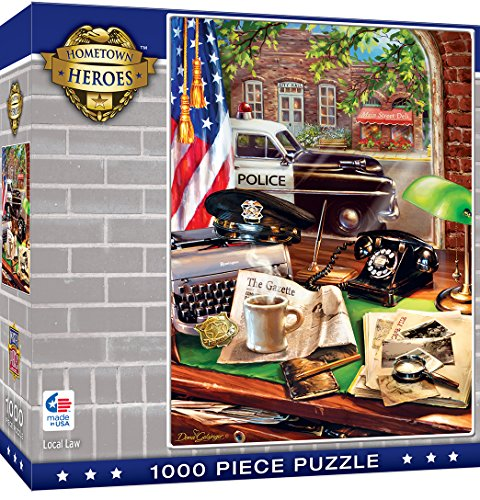 MasterPieces Hometown Heros Jigsaw Puzzle, Local law, Vintage Police Desk, Art by Dona Gelsinger, 1000 Pieces