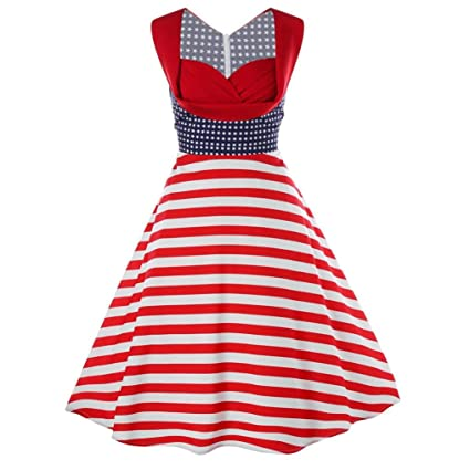 WuyiM® Hot Sale Women Sleeveless 4Th July Dress USA American Flag Elegant Vintage Tea Hepburn