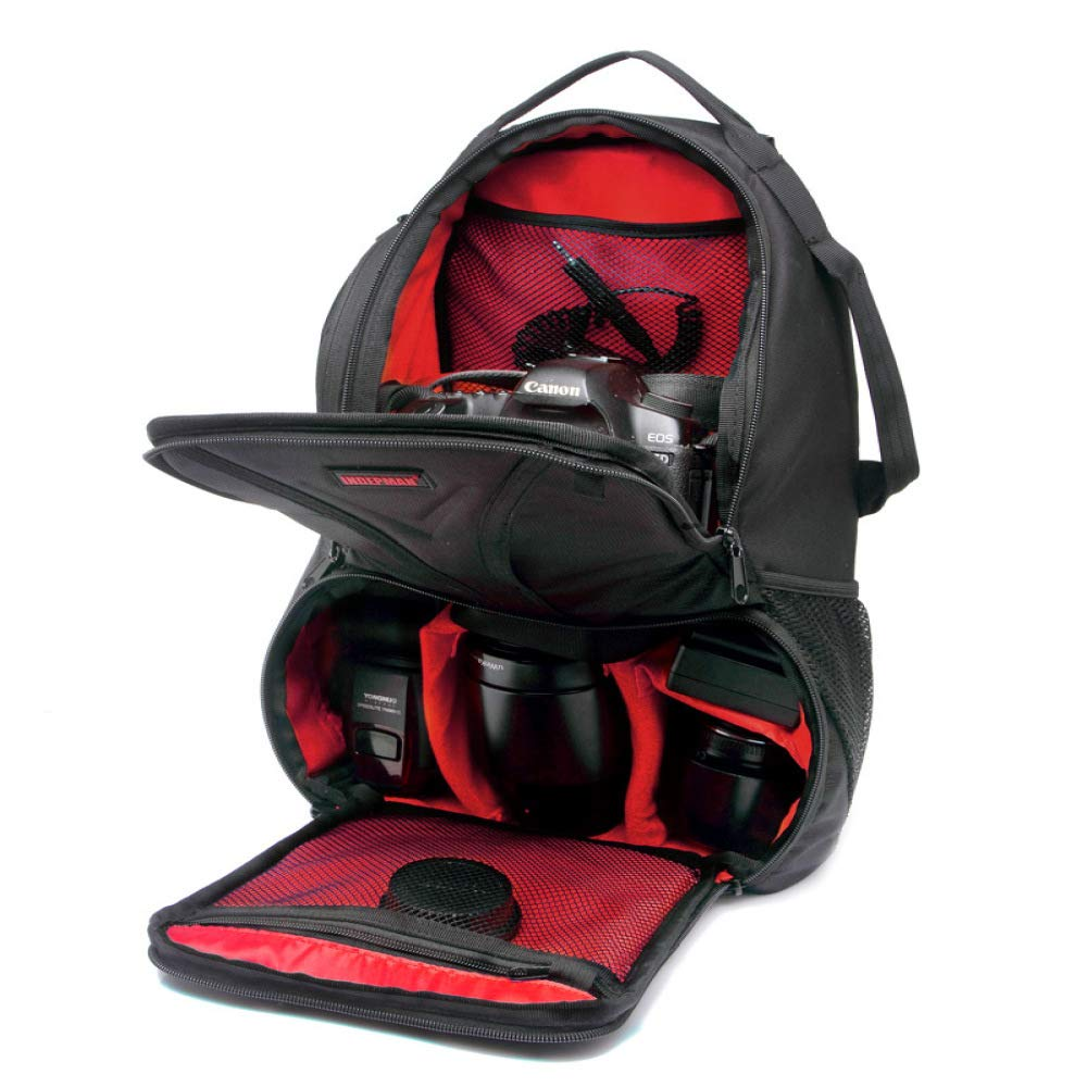 Outdoor Portable Waterproof Dual Shoulders Backpack Camera Accessories Bag Digital DSLR Photo Video Bag Black with Red 25.5X19X44CM by M.T.E