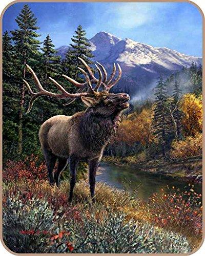 """Bull Elk"" Licensed Polyester Mink Blanket Queen Size"