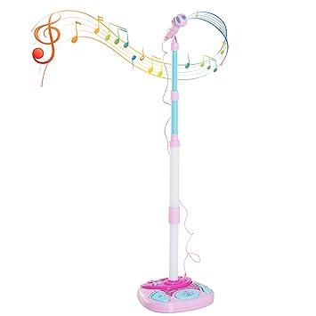 HOMCOM Micrófono Infantil con Pie Karaoke Máquina Kit de Altavoces Altura Ajustable con Conector de MP3