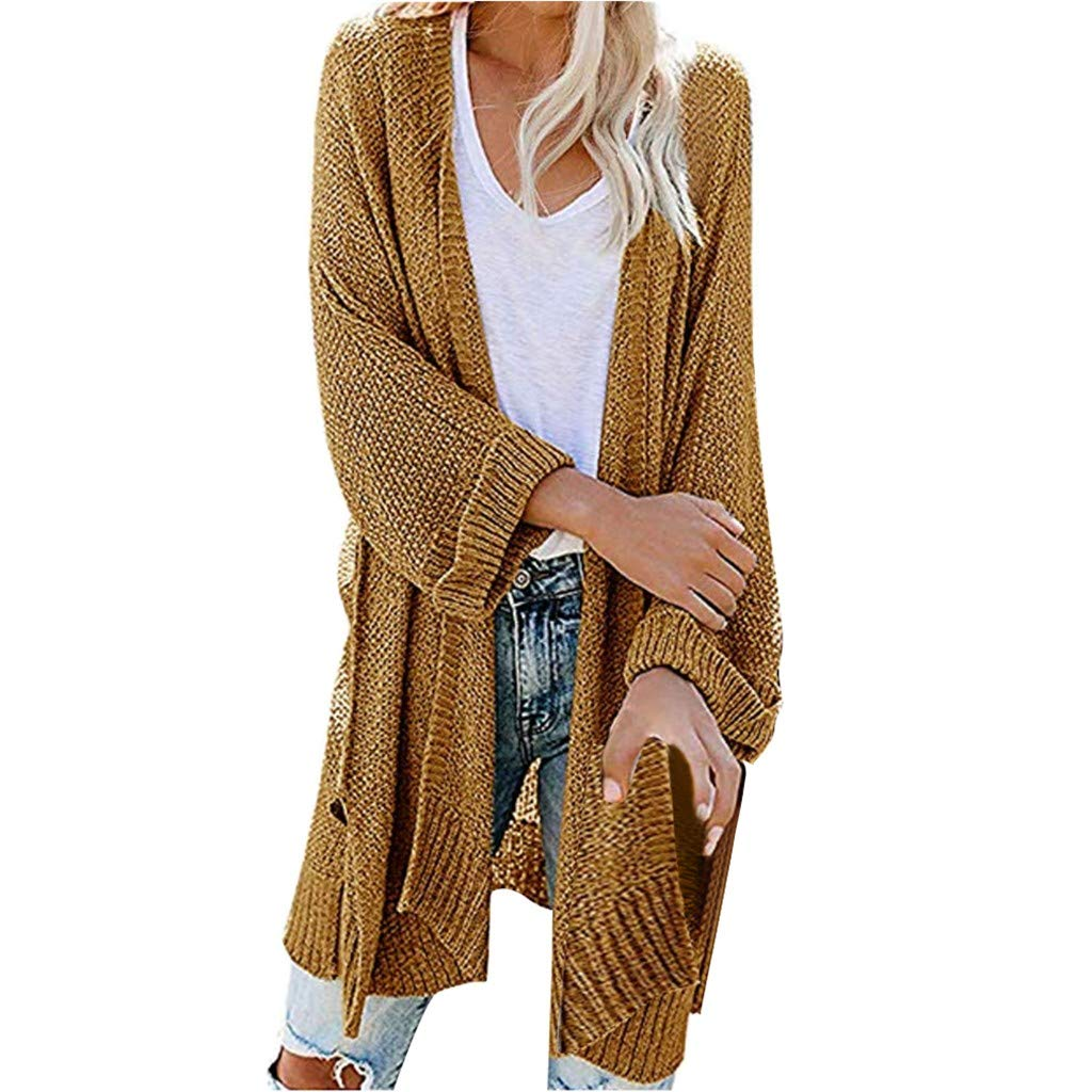 SturrlyWomen's Casual Open Front Long Sleeve Knit Cardigan Sweater Coat with Pockets Yellow by Sturrly