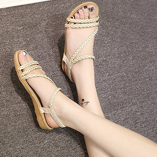 Wear to 2cm Ladies Tie Comfortable Braided Height Flat Beige Sky it Sandals zaE55q