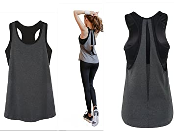 POUREVE Camiseta Sin Mangas Deportiva Sujetador para Mujer, 2 en 1 Chaleco Deportivo para Mujer