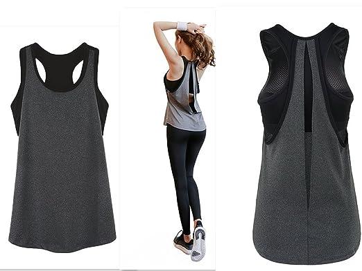 POUREVE Camiseta Sin Mangas Deportiva Sujetador para Mujer, 2 en 1 Chaleco Deportivo para Mujer de Secado Rápido Camiseta Top Deportivo Mujer: Amazon.es: ...