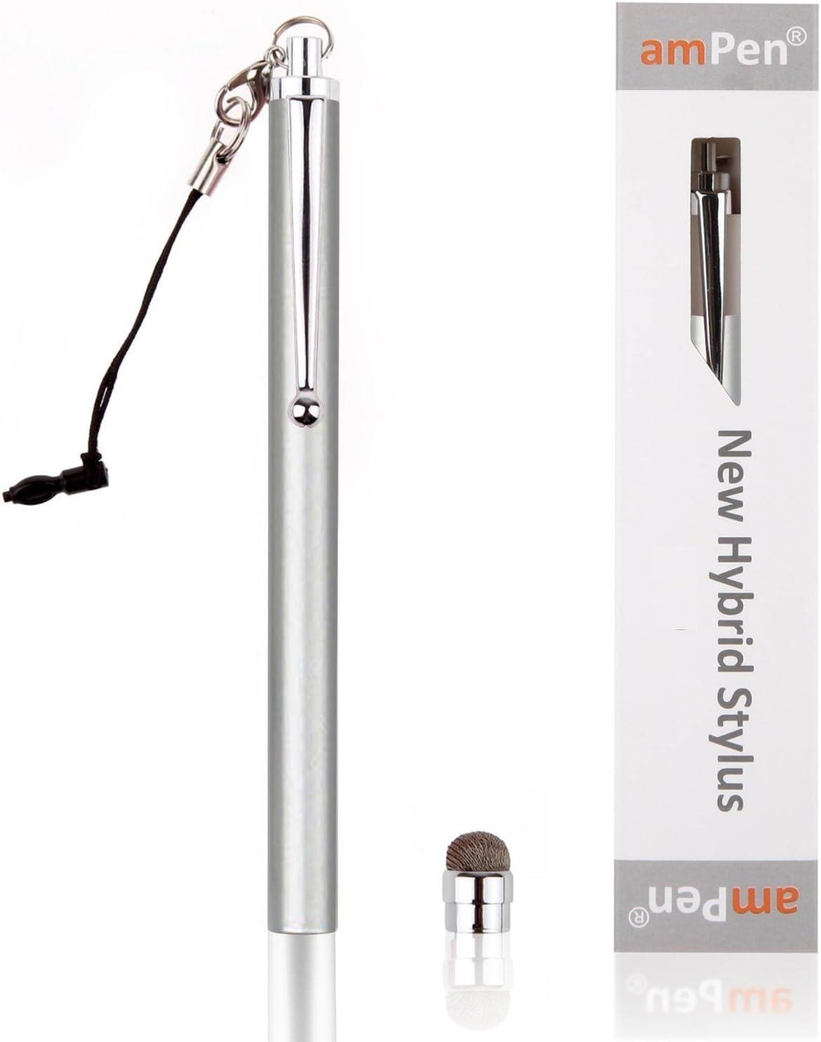 amPen Hybrid Stylus Pen - Interchangeable Hybrid Tip Touchscreen Stylus (Silver)