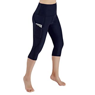 ODODOS Women's High Waist Yoga Capris with Pockets,Tummy Control,Workout Capris Running 4 Way Stretch Yoga Leggings with Pockets,Navy,X-Large
