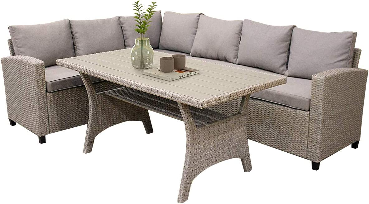 LZ LEISURE ZONE Patio Furniture Sets, Outdoor Patio Dining Table Set, PE Rattan Wicker Conversation Set, All-Weather Sectional Sofa Set with Table & Soft Cushions (Light Brown)