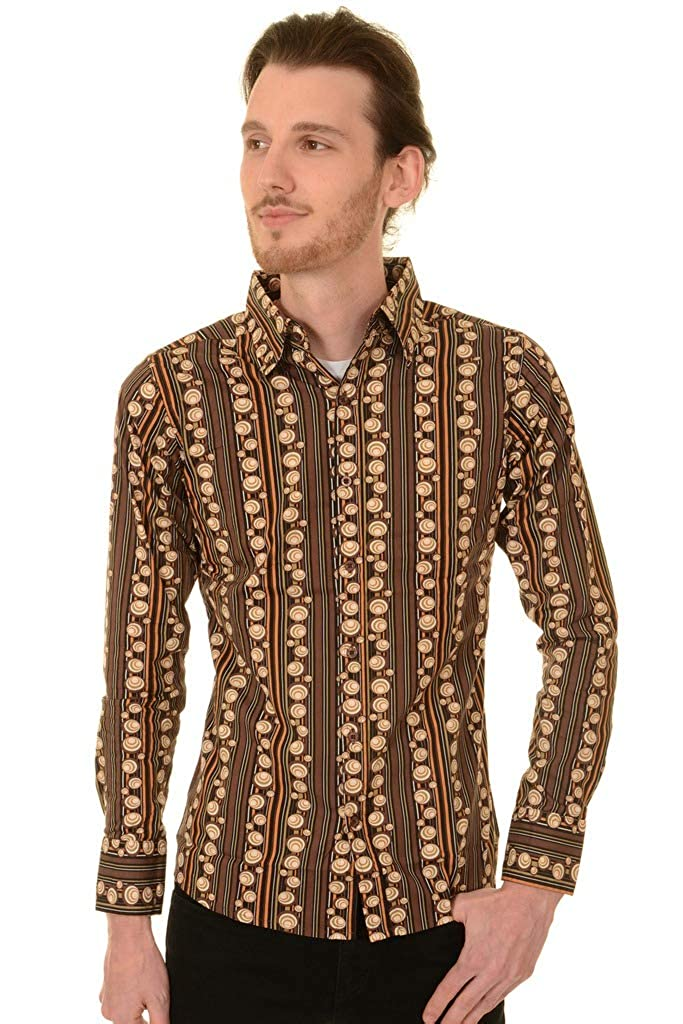 1960s Menswear Outfits | 60s Fashion for Guys Run & Fly Mens Retro Seventies Circle Psychedelic Printed Mod Shirt $34.95 AT vintagedancer.com