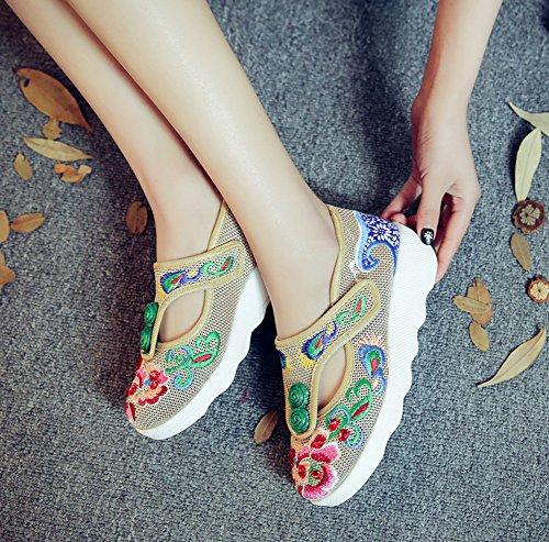 Avacostume Damessweater Borduurgaren Rubberen Zool Velcro Sneaker Beige