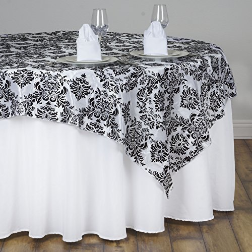 BalsaCircle 90x90-Inch Black on White Damask Flocking Table Overlays - Wedding Reception Party Catering Table Linens Decorations -