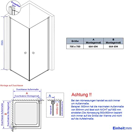 Bath-mann - Mampara de Ducha para Esquina, Puerta de Esquina, Puerta de Ducha de 6 mm, Cristal de Seguridad con nanorevestimiento, Puerta de Ducha Doble, Altura 185 cm, 70 x 70 cm |