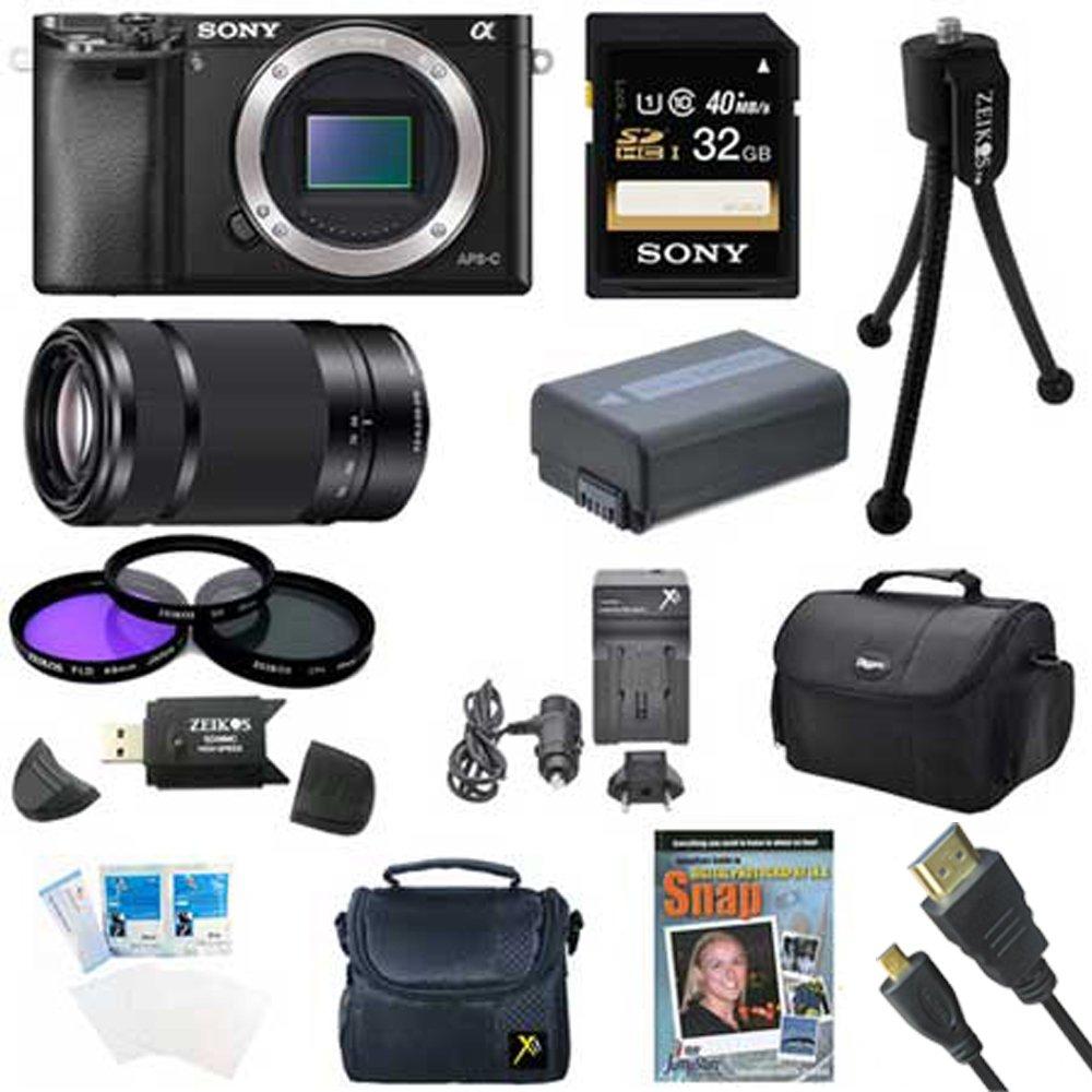 Sony Alpha a6000 ilce6000 / B 24.3交換可能レンズカメラ – ボディのみwith Sony E 55 – 210 mmレンズバンドルwith 64 GBクラス10カード、スペアバッテリー、デラックスパッド入りケース、Micro HDMIケーブル, and More   B00IMPILKG