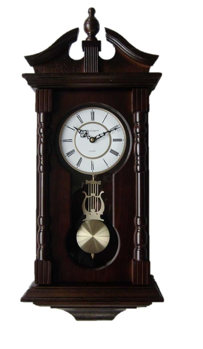 Wall Clocks: Grandfather Wood Wall Clock with Chime. Pendulum Wood Traditional Clock. Makes a Great House Warming or Birthday Gift. vmarketingsite Wall Clock Chimes Every Hour With Westminster Melody by Vmarketingsite