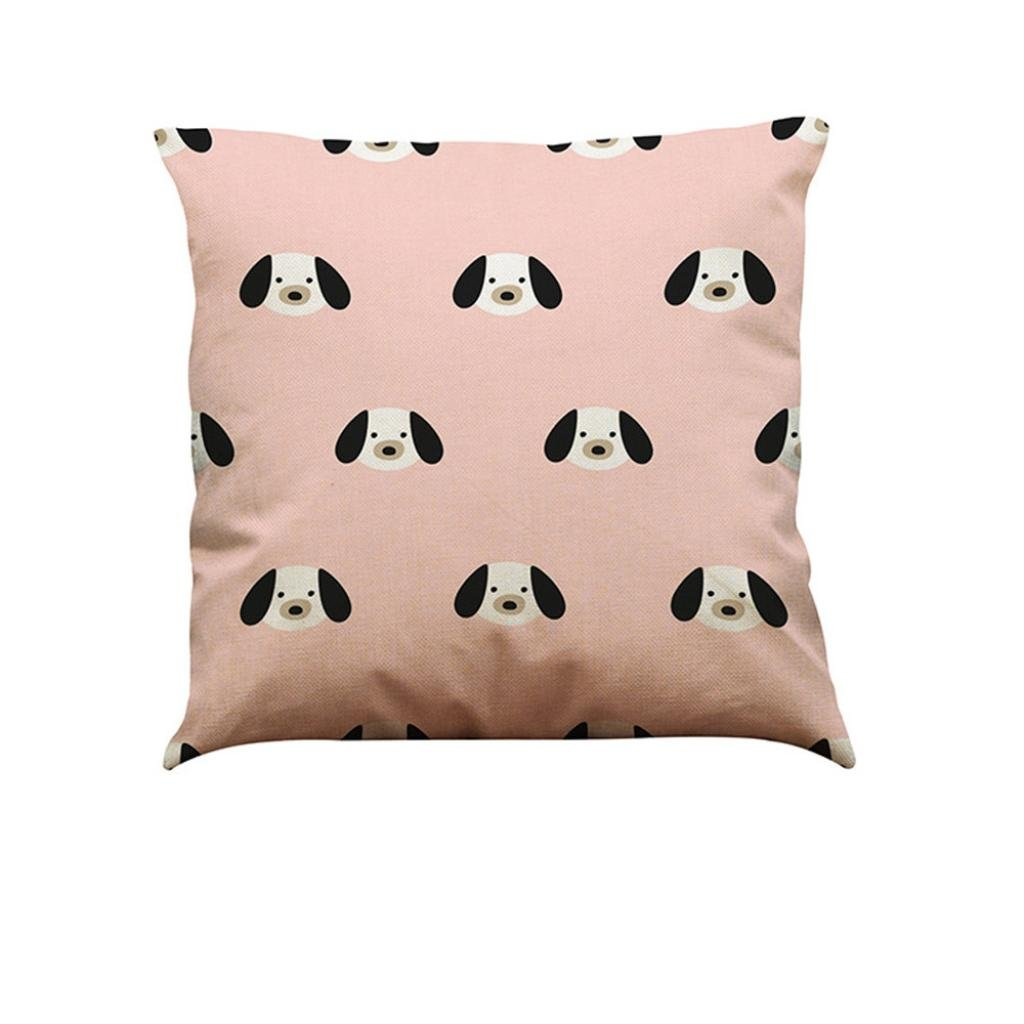 HLHN Retro Cute Dog Pattern Cotton Linen Square Home Design Pillow Case Pillowslip Waist Throw Cushion Cover for Sofa Home Bedroom Office Coffee Shop Car Decor (A)