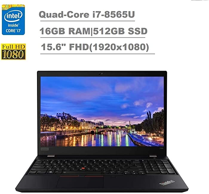 "2020 Lenovo ThinkPad T590 15.6"" FHD Full HD (1920x1080) Business Laptop (Intel Quad-Core i7-8565U, 16GB RAM, 512GB SSD) Backlit, Type-C Thunderbolt 3, RJ-45, Webcam, Windows 10 Pro IST Computers"