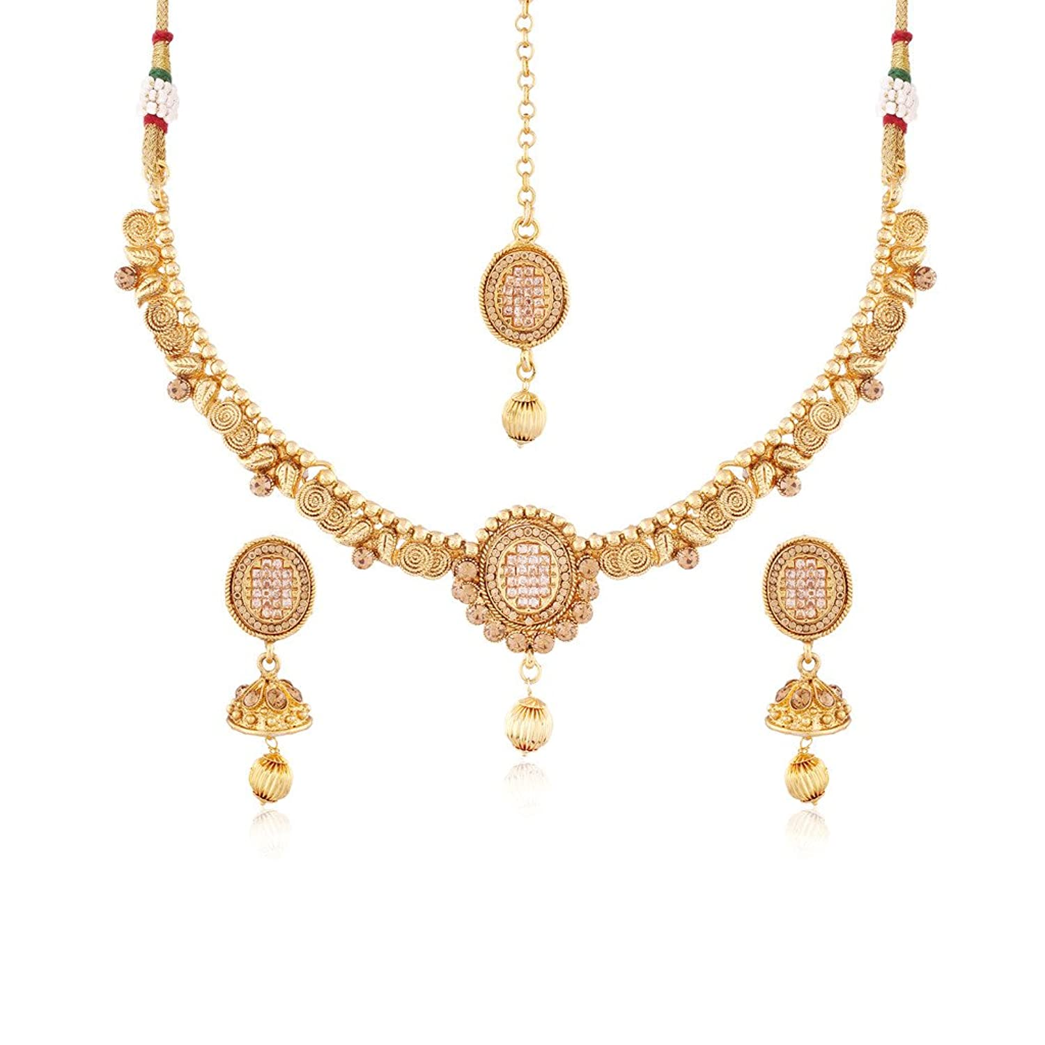 I Jewels Gold Plated Traditional Jewellery Set with Maang Tikka for Women MS111