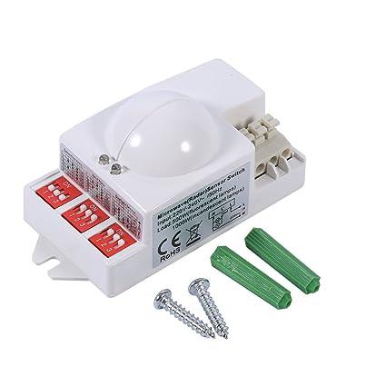 Fdit 360 ° 500W Interruptor de Radar Inteligente de Luz de Sensor de Movimiento de Microondas
