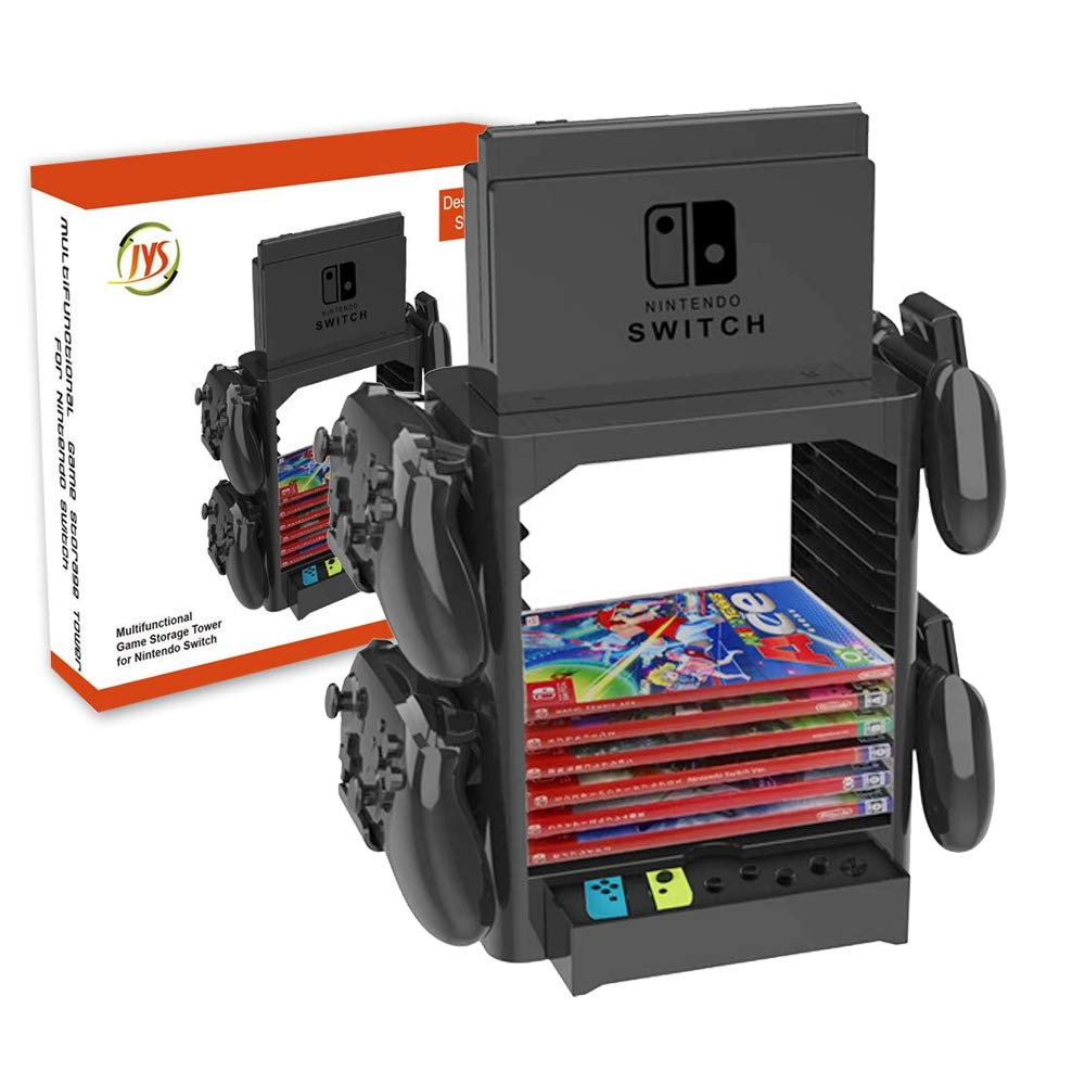 Bracket Mount for Nintendo Switch, YTTL Stackable Game Disk Rack Controller Organizer and Multi-Function Storage Bracket Tower Holder Stand for Nintendo Switch and Accessories by YTTL
