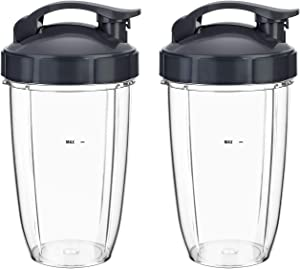 Replacement Extractor cups 24 oz 2 Packs for NutriBullet Pro 900w 600w Juicer Series Blender Blade Replacement Parts Smoothie Cup with Flip Top To Go Lid Mixer Attachment BPA Free