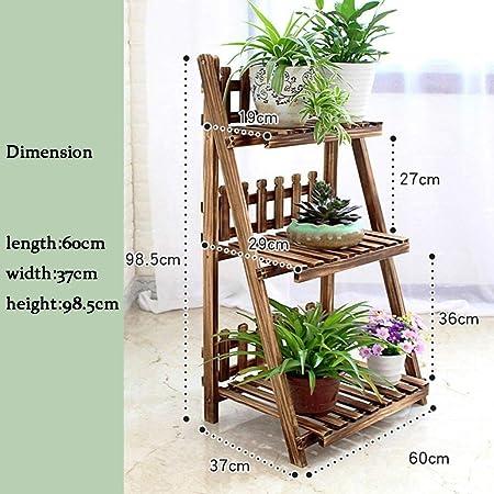 Puesto De Flores,estantes de flores con escalera de 3 niveles Estante para plantas de madera Estante para flores con valla Soporte para macetas de plantas Estante para flores Interior, balcón, es: Amazon.es: