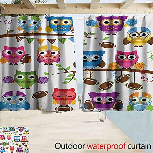 Owls Outdoor Grommet Top Curtain Panel Sporty Owls Cheerleader League Team Coach Football Themed Animals Cartoon Art Style Perfect For Your Patio, Porch, Gazebo, or Pergola W63
