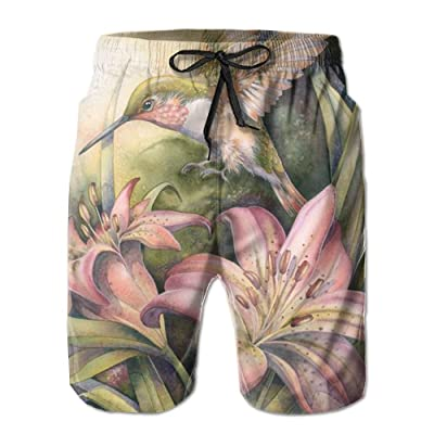 xj Oils Hummingbird Mens Cool Board Shorts Loose Fit with Liner Swimming Trunks Sport Short