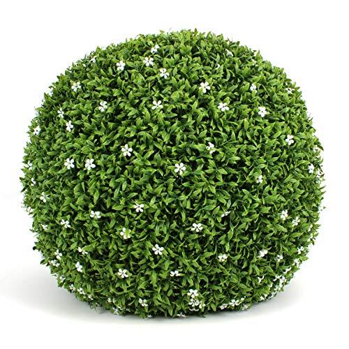 3rd Street Inn White Flower Grass Topiary Ball - 19