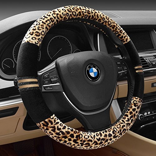 (FULL WERK Luxury Leopard Print Fashionable Plush Car Steering Wheel Cover, Universal Fit, Keep Warm for Car SUV (Beige+Black))