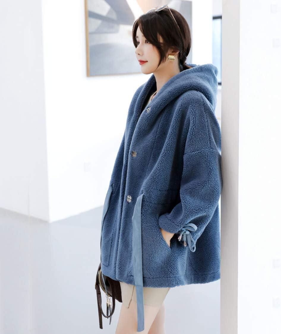 WJINNSH Manteau,Veste d'hiver Femme à Capuche Femme avec écharpe Manteau Parka Bleu