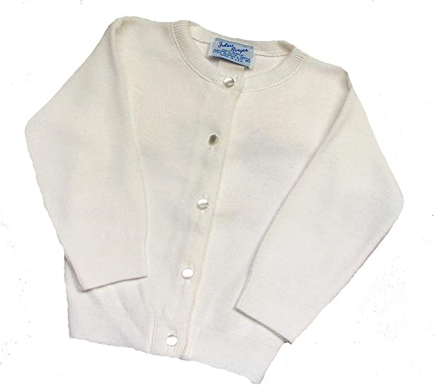 Amazon.com: Girls White Cotton Cardigan Sweater Pearl Buttons ...