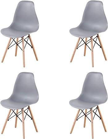 Pack 4/6 sillas de Comedor Silla diseño nórdico Retro Estilo (Gris ...
