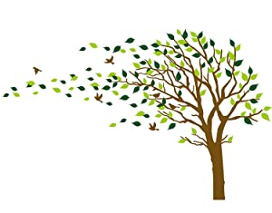 Large Tree Blowing in The Wind Tree Wall Decals Wall Sticker Vinyl Art Kids Rooms Teen Girls Boys Wallpaper Murals Sticker Wall Stickers Nursery Decor Nursery Decals (Brown and Green,Left)