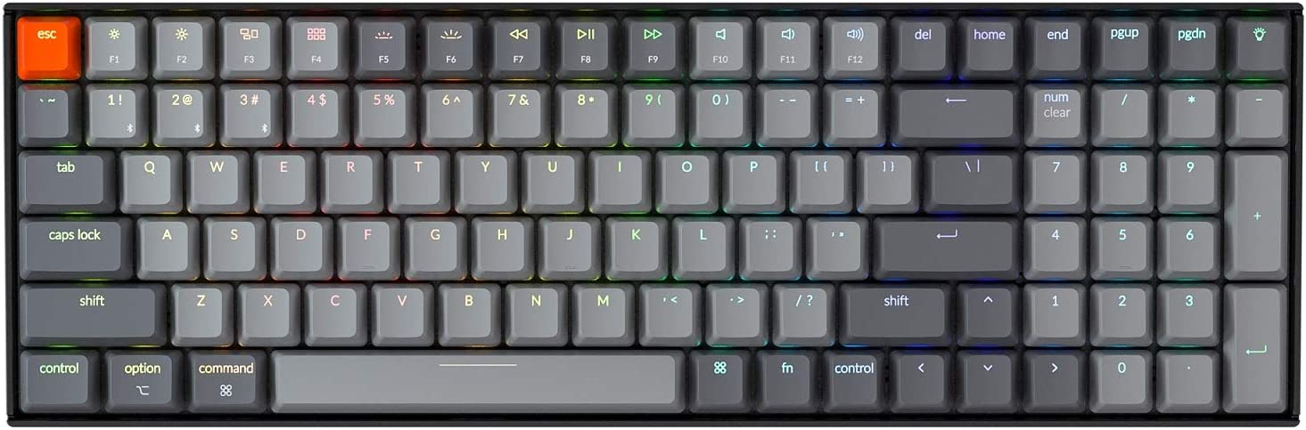 Keychron K4 Hot Swappable Mechanical Gaming Keyboard RGB Backlit, Compact 96% Layout Wireless Bluetooth 5.1/Wired USB C Computer Keyboard for Mac Windows PC Gamer, Gateron Red Switch - Version 2