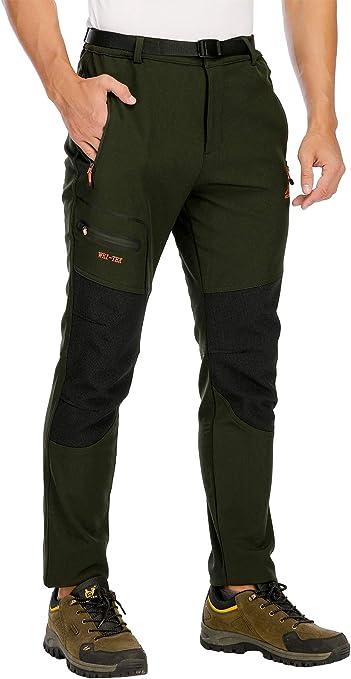 Hommes Softshell Trekking randonn/ée Pantalon Hiver ext/érieur imperm/éable Polaire Camping m/âle Pantalon de Sport pour la Chasse p/êche